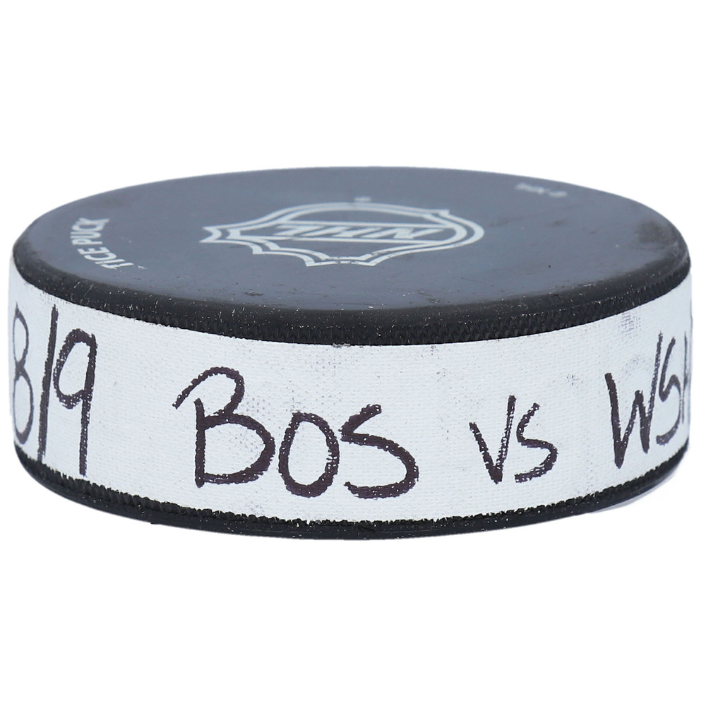 Boston Bruins vs. Washington Capitals Practice-Used Puck from 2020 Stanley Cup Playoffs Round Robin Game on August 8, 2020 - Used During Pregame Warm-Ups
