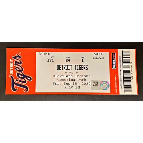 Photo of 9/18/20 - Detroit Tigers vs Cleveland Indians Comerica Park Home Game #25 Limited Edition Full Game Ticket - Ron Gardenhire Final Career Game Managed and Zach Plesac 11K & Immaculate Inning Game (MLB AUTHENTICATED)
