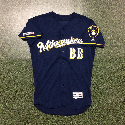 Photo of Bat Boy 2019 Team-Issued Navy Ball & Glove Jersey (INCLUDES FREE SHIPPING & FREE 2020 GAME-READY 50TH ANNIVERSARY BASEBALL)