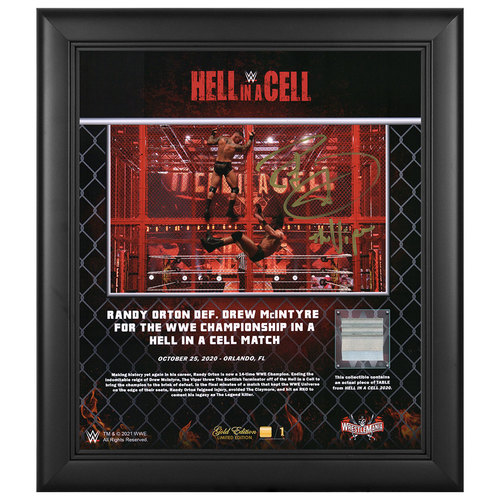 Photo of Randy Orton SIGNED Hell In A Cell 2020 WrestleMania Gold Edition Plaque (#1 of 1)