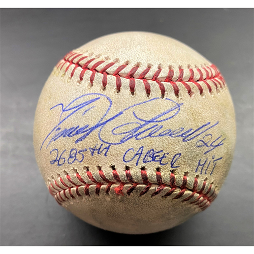 """Photo of Cabrera Exclusive! Autographed Game-Used Baseball: Miguel Cabrera Single (4/9/19) Autographed with Inscription """"Career Hit #2685"""" (MLB AUTHENTICATED)"""