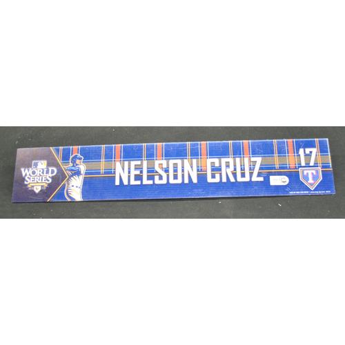 Photo of Game-Used Locker Name Plate - 2010 World Series Game 3 - San Francisco Giants vs. Texas Tangers - Nelson Cruz (Texas Rangers)