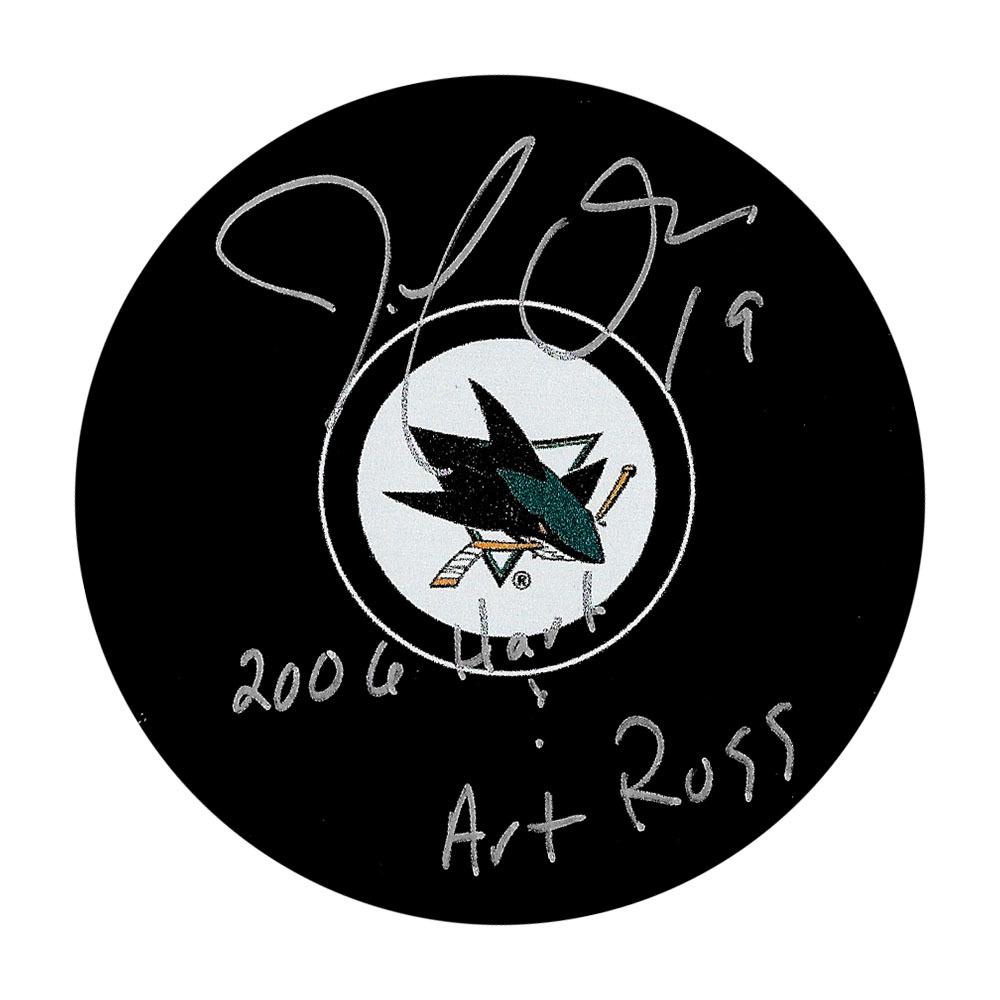 Joe Thornton Autographed San Jose Sharks Puck w/2006 HART & ART ROSS Inscription