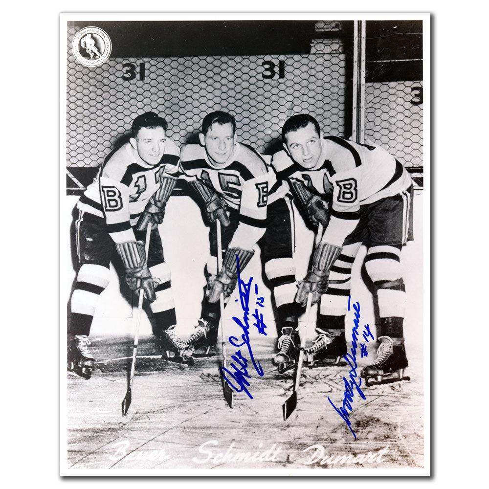 Milt Schmidt & Woody Dumart Boston Bruins KRAUT LINE Dual Autographed 8x10