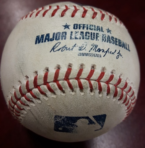 Photo of Authenticated Game Used Baseball - JD Martinez Strikeout, Xander Bogaerts Fly Out, Rafael Devers Single vs Seung Hwan Oh on May 12, 2018 (Top 8)