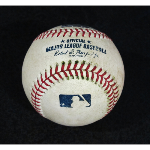 Photo of Game Used Baseball - Pitcher: Marco Gonzales, Batters: Justin Upton, Mike Trout (Upton Foul, Trout Strikeout - Top 5)  7/5/18