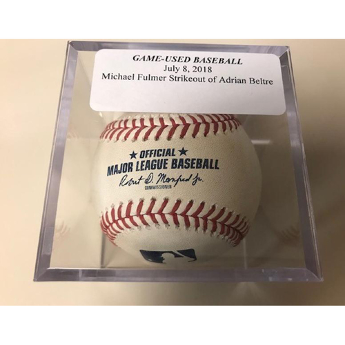 Photo of Game-Used Baseball: Michael Fulmer Strikeout of Adrian Beltre
