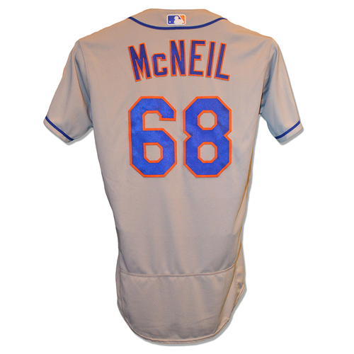 Jeff McNeil #68 - Game Used Road Grey Jersey - McNeil Goes 2-5, HR (3), 1 RBI, Run Scored - Mets vs. Red Sox - 9/14/18