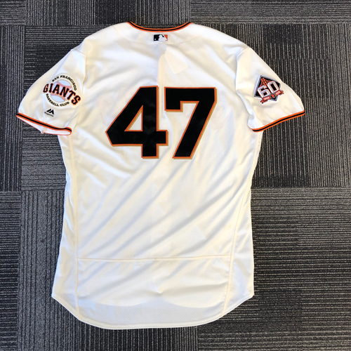 Photo of 2018 Game Used Home Cream Jersey worn by #47 Johnny Cueto on 4/3 & 4/4 vs. Seattle Mariners - 6.0 IP, 1 K, WIN - Size 48