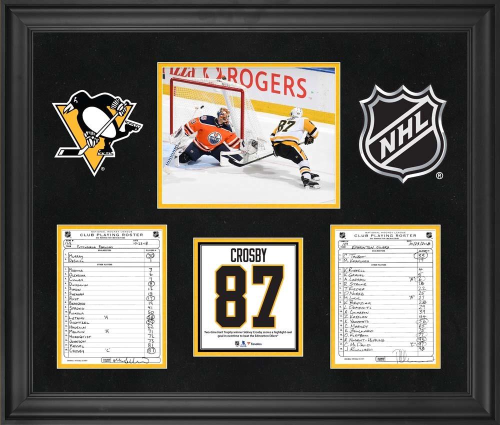 Pittsburgh Penguins Framed Original Line-Up Cards from October 23, 2018 vs. Edmonton Oilers - Sidney Crosby Overtime Game Winner vs. Edmonton Oilers