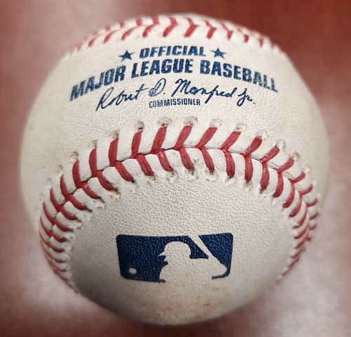 Photo of Authenticated Game Used Baseball - Double by Lourdes Gurriel Jr. against Archie Bradley (June 9, 2019 vs ARI). Bottom 8.