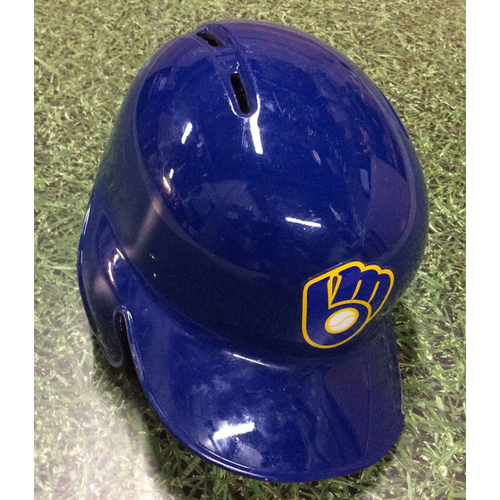 Photo of Travis Shaw 2018 Game-Used Royal Ball & Glove Batting Helmet (9/30 - HR #32)