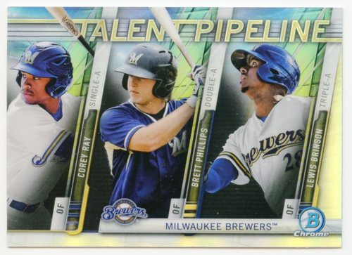 Photo of 2017 Bowman Chrome Talent Pipeline Refractors #TPMIL Corey Ray/Brett Phillips/Lewis Brinson