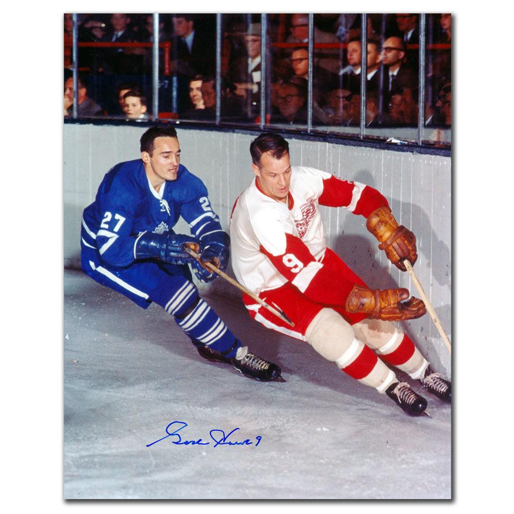 Gordie Howe Detroit Red Wings vs Frank Mahovlich Autographed 8x10