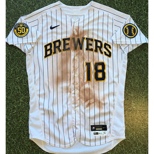 Photo of Keston Hiura 2020 Team-Issued Home Pinstripe Jersey (Authenticated 09/12/20)