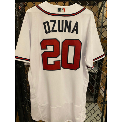Photo of 2020 Silver Slugger: Marcell Ozuna Game Used Home White Jersey - Worn 9/26/20, 10/1/20 (Wild Card), 10/6/20 (NLDS, Home Run)