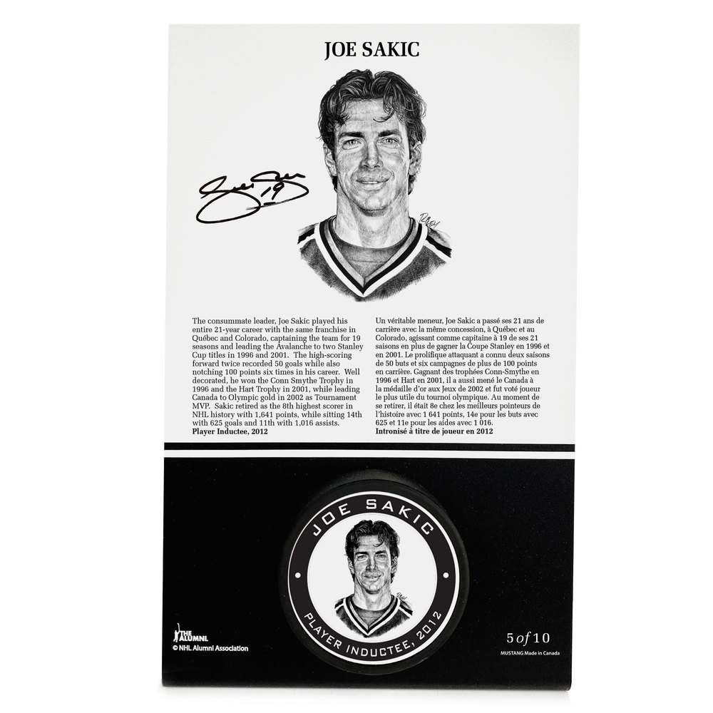 Joe Sakic Autographed Legends Line Honoured Member Puck Stand - Limited Edition 6/10