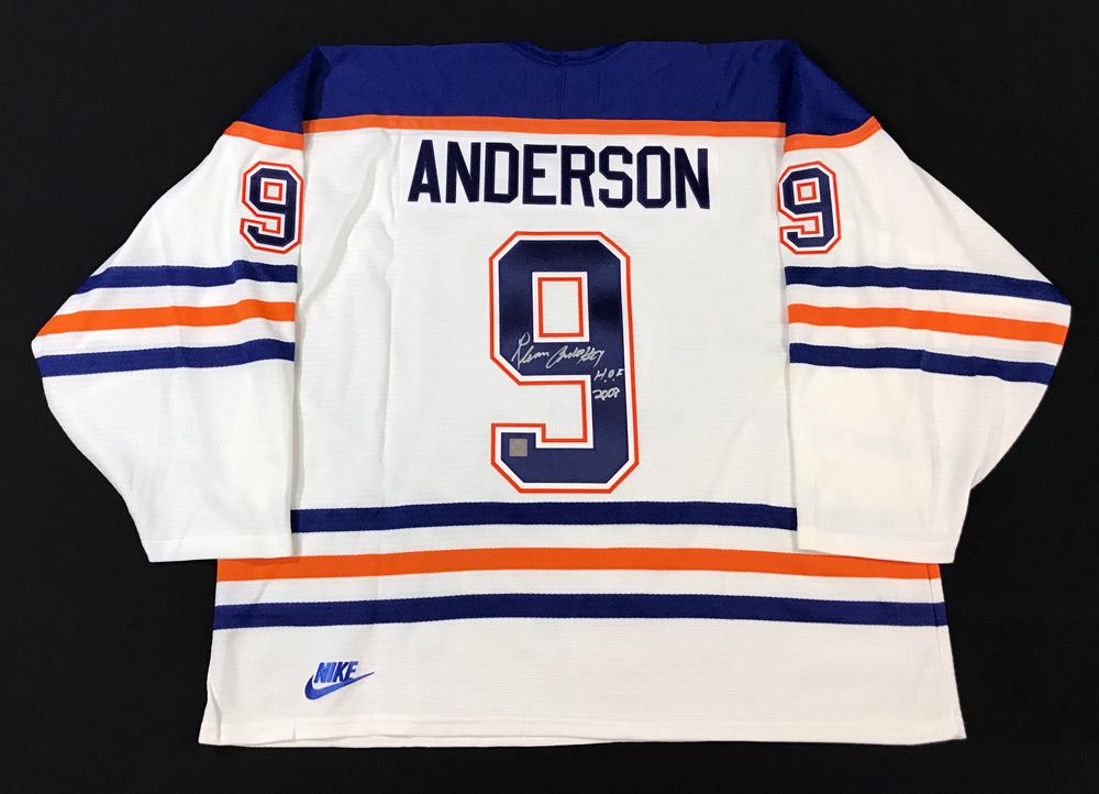 Glenn Anderson #9 - Autographed Edmonton Oilers White Nike Replica Hockey Jersey