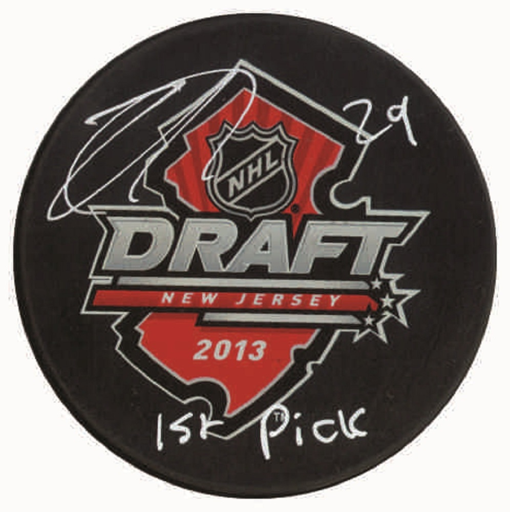Nathan Mackinnon - Signed & Inscribed 2013 Draft Puck - Inscribed
