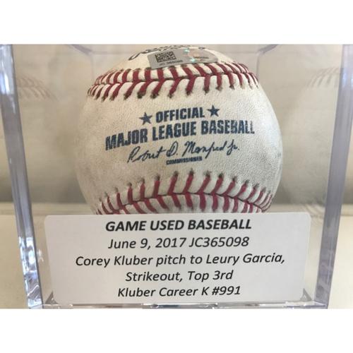 Game-Used Baseball: Corey Kluber Strikeout, Career K #991
