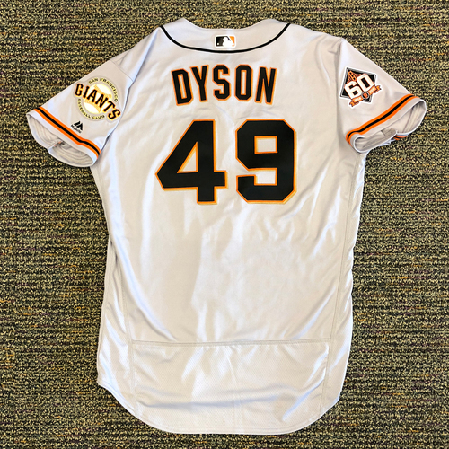 Photo of San Francisco Giants - 2018 Opening Day Game-Used Road Jersey - Worn by #49 Sam Dyson on 3/29/2018 vs. the Los Angeles Dodgers - Jersey Size 46