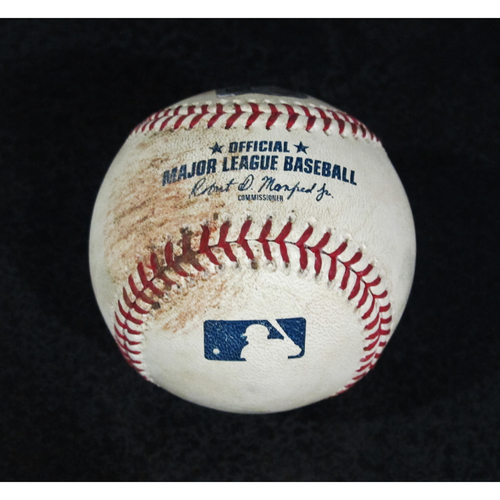 Photo of Game Used Baseball - Pitcher: Alex Colome, Batters: Justin Upton, Mike Trout (Upton Ball, Trout, Strikeout - Top 8)  7/5/18
