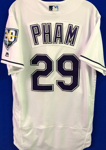 Photo of 20th Anniversary Game Used Devil Rays Jersey: Tommy Pham (H, R) - September 8 v BAL
