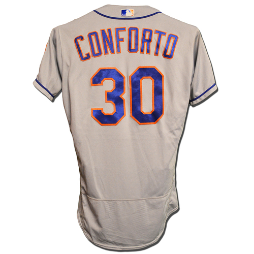 Photo of Michael Conforto #30 - Game Used Road Grey Jersey - Mets vs. Diamondbacks - 6/16/18