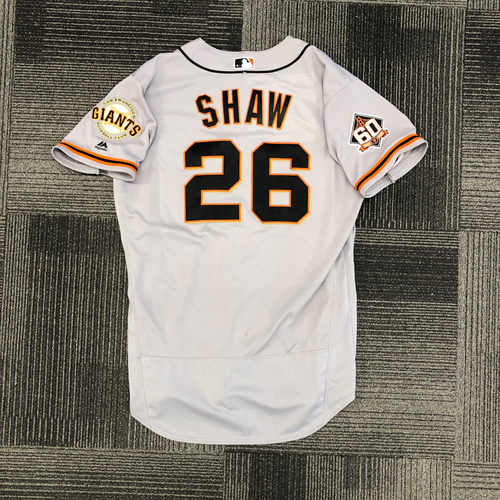 Photo of 2018 Game Used Road Alternate Jersey worn by #26 Chris Shaw on 9/23 @ St. Louis Cardinals - Size 46