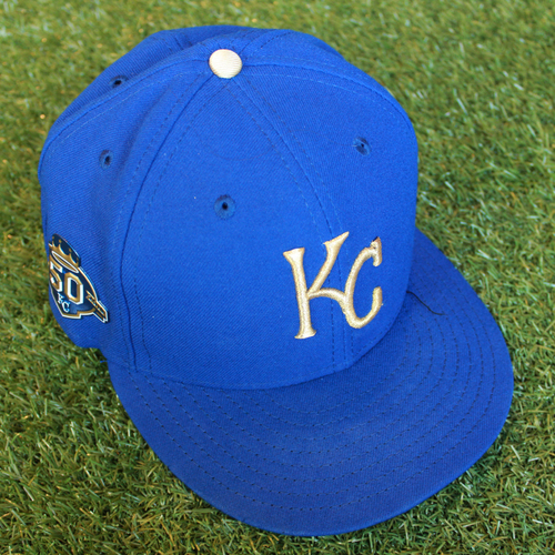 Photo of Game-Used 50 Seasons Cap: Brandon Maurer (Size 7 3/8 - CLE @ KC - 9/28/18)