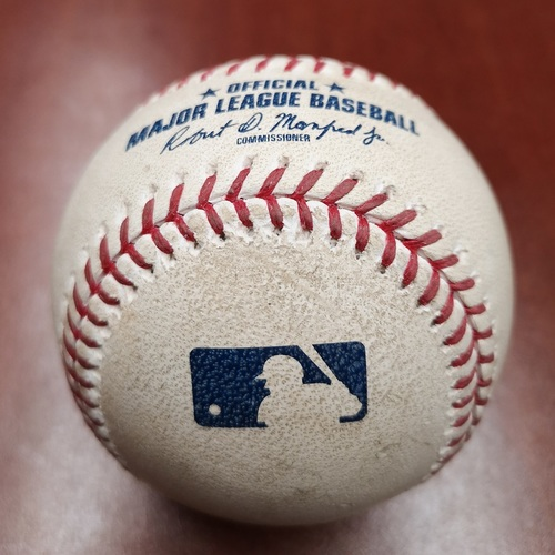 Photo of Authenticated Game Used Baseball - RBI Double by Rafael Devers against Sam Gaviglio (May 23, 19 vs BOS). Top 6