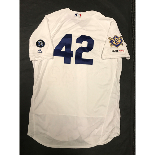 Photo of 2019 Game Used Home #42 Jersey worn by #86 Bullpen Catcher Jonathan Langley on 4/15 Jackie Robinson Day against Cin. Dodgers 4-3 victory against Cincinnati. Size-48