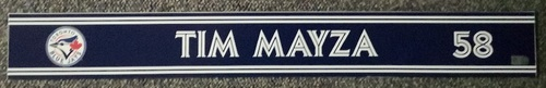Photo of Authenticated Game Used Locker Name Plate - #58 Tim Mayza (Sept 24, 18: 1 IP, 1 Hit, 0 ER, 2 Ks)
