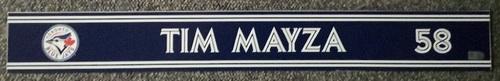 Photo of Authenticated Game Used Locker Name Plate - #58 Tim Mayza (Sept 24, 18: 1 IP, 1 Hit, 0 ER, 2 Ks)