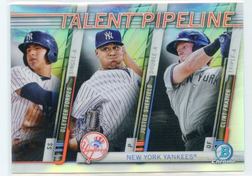 Photo of 2017 Bowman Chrome Talent Pipeline Refractors #TPNYY Gleyber Torres/Justus  Sheffield/Clint  Frazier