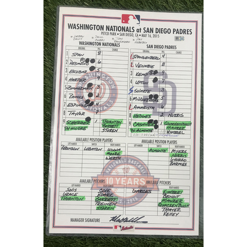 Game-Used Dugout Lineup Card from May 16, 2015 - Max Scherzer 7.0 IP, 0 R