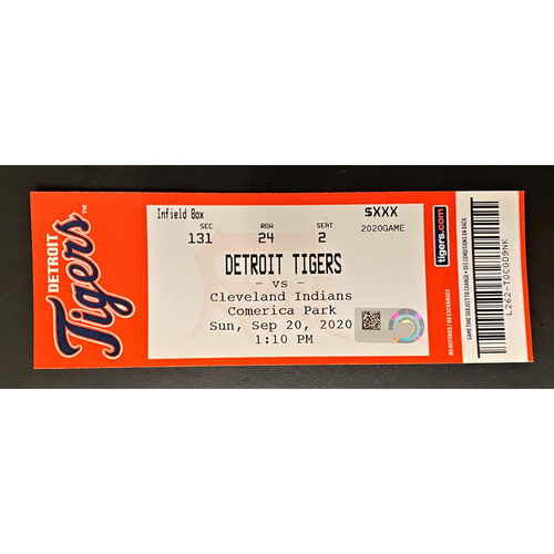 Photo of 9/20/20 - Detroit Tigers vs Cleveland Indians Comerica Park Home Game #27 Limited Edition Full Game Ticket - Cabrera #484 Career HR Game (MLB AUTHENTICATED)