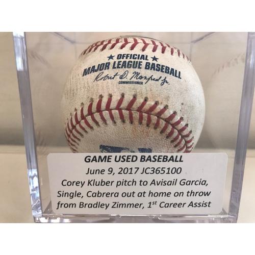Game-Used Baseball: Bradley Zimmer 1st Career Assist