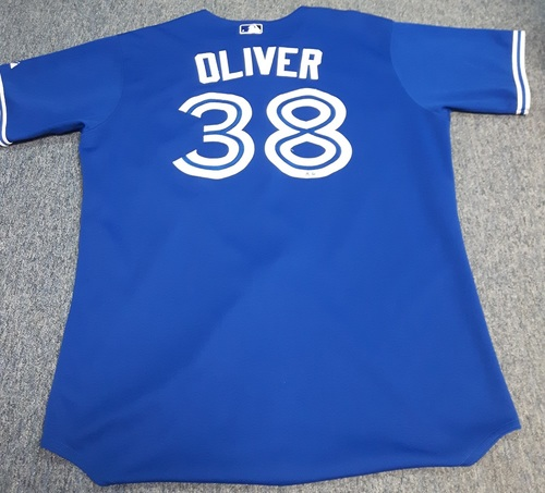 Photo of Authenticated Game Used Jersey - #38 Darren Oliver (April 4, 2013): 1 IP with 3 Hits, 1 ER, and 1 Walk. Size 50.