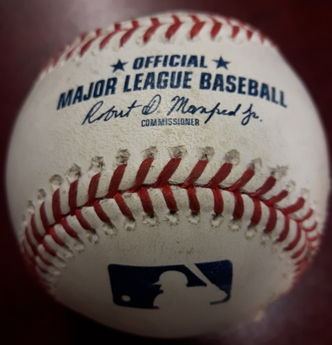 Photo of Authenticated Game Used Baseball - Christian Vazquez Strikeout, Mookie Betts Double, Andrew Benintendi RBI Single vs Ryan Tepera on May 12, 2018 (Top 9)