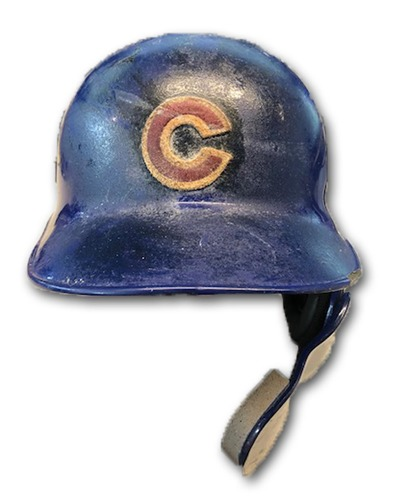 Photo of Albert Almora Team-Issued Cracked Batting Helmet -- Size 7 1/8