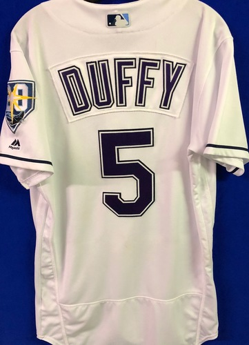 Photo of 20th Anniversary Game Used Devil Rays Jersey: Matt Duffy (7H, 3RBI, R, SB) - March 31 v BOS, June 9 v SEA, June 23 v NYY and September 8 v BAL