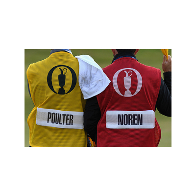 Photo of 147th Open Official Final Round Caddie Bib Yellow with RUSSELL KNOX Name Patch (not shown)