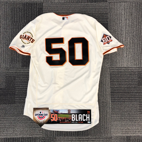 Photo of 2018 Game Used Home Cream Jersey & Opening Day Locker Tag worn by #50 Ty Blach on 4/3 vs. Seattle Mariners - Opening Day Starter - Size 46