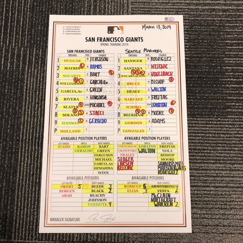 Photo of 2019 Team Issued Spring Training Lineup Card - 3/13/19 San Francisco Giants vs. Seattle Mariners - Ichiro Started as DH
