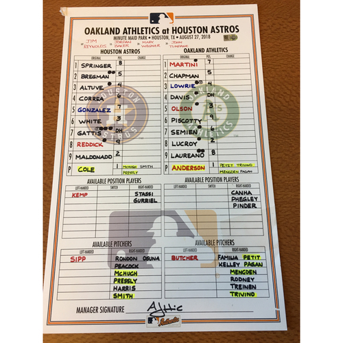 Photo of 2018 Game-Used Lineup Card - 8/27/18 vs OAK