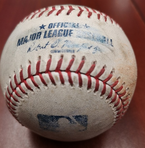 Authenticated Game Used Baseball - Single by Wilfredo Tovar against Edwin Jackson (June 17, 2019 vs LAA). Top 2.