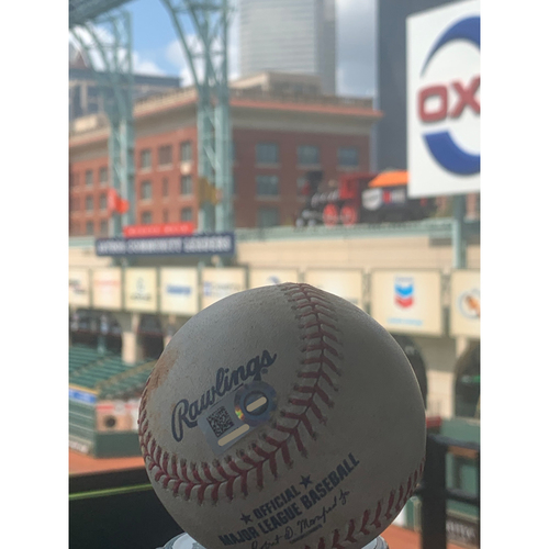 Photo of Game-Used Baseball: Felix Pena to Michael Brantley (Double) to Yordan Alvarez (Double) - 7/5/19