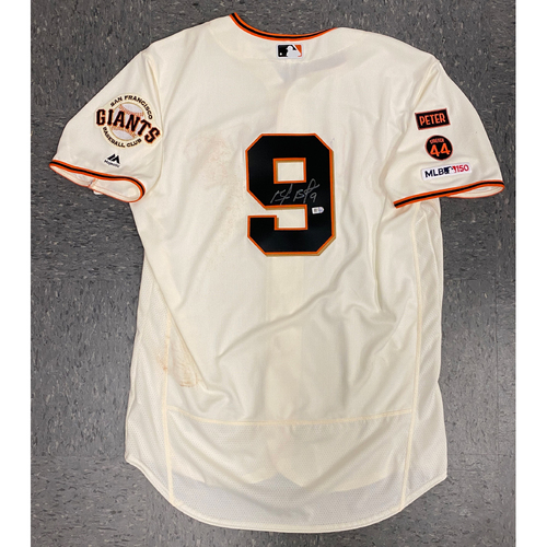 Photo of Buster Posey BP 28 Foundation - 2019 Game Used & Autographed Home Cream Jersey used & signed by #9 Brandon Belt on 8/11 vs. Philadephia Phillies - Size 48