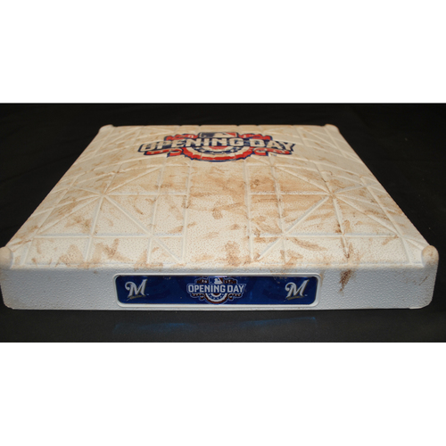 Photo of Game Used Opening Day Base - Colorado Rockies at Milwaukee Brewers (4/3/2017) - 3rd Base - Innings 7 - 9